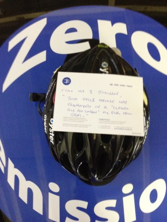 Boris' cycling helmet, now reunited with its owner