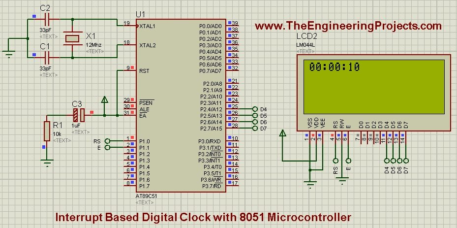 Interrupt Based Digital Clock With 8051 Microcontroller