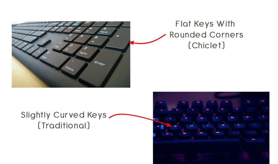 Chiclert Keyboard vs Traditoinal Keyboard
