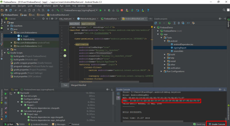SHA Android Studio