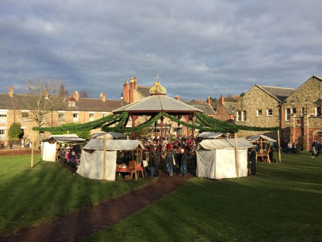 The pavilion at the Beamish Christmas Bazaar in Durham looked incredible with our luxury commercial Christmas Garlands creating a maypole effect.