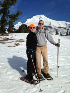 Cara and her husband, Tim, snow-shoeing