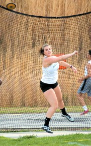 Lexi Carico finished first in the discus with a personal best throw.