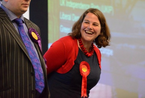 Dated: 26/05/2014 LABOUR WIN SEAT EUROPOEAN ELECTIONS Pictured is newly elected Jude Kirton-Darling (Labour) after being elected as a MEP at the Sunderland Tennis Centre in the North East of England