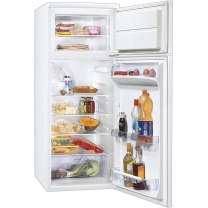 Um frigorífico. Notice the separation between fridge on the bottom and freezer on top.