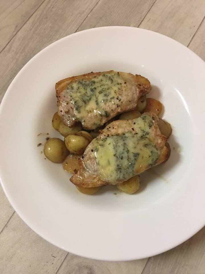 October I cooked Stilton covered pork chops on a bed of new potatoes and apple