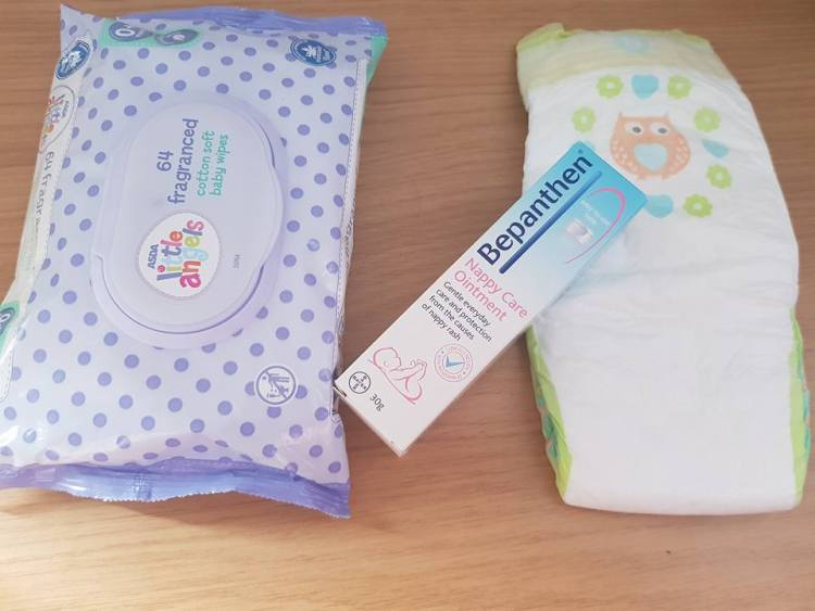 wet wipes, bepanthen and nappies