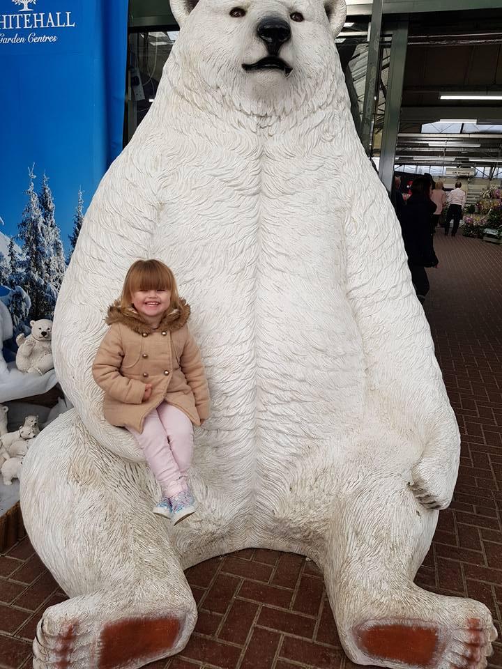 Shaniah sat on whitehall's bear