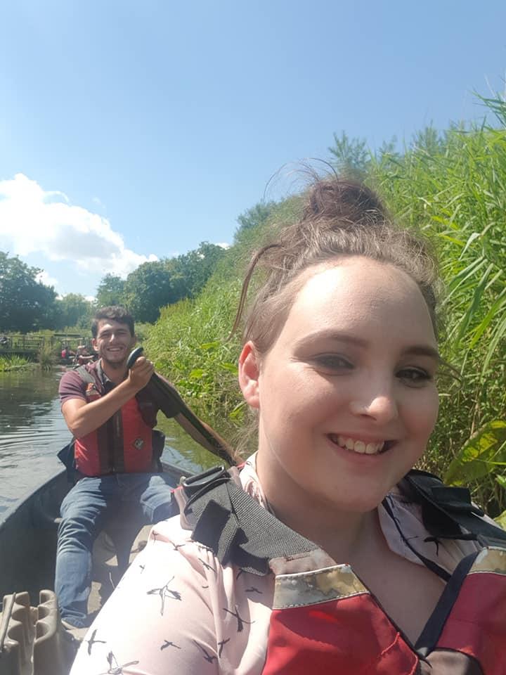 Sat in a canoe
