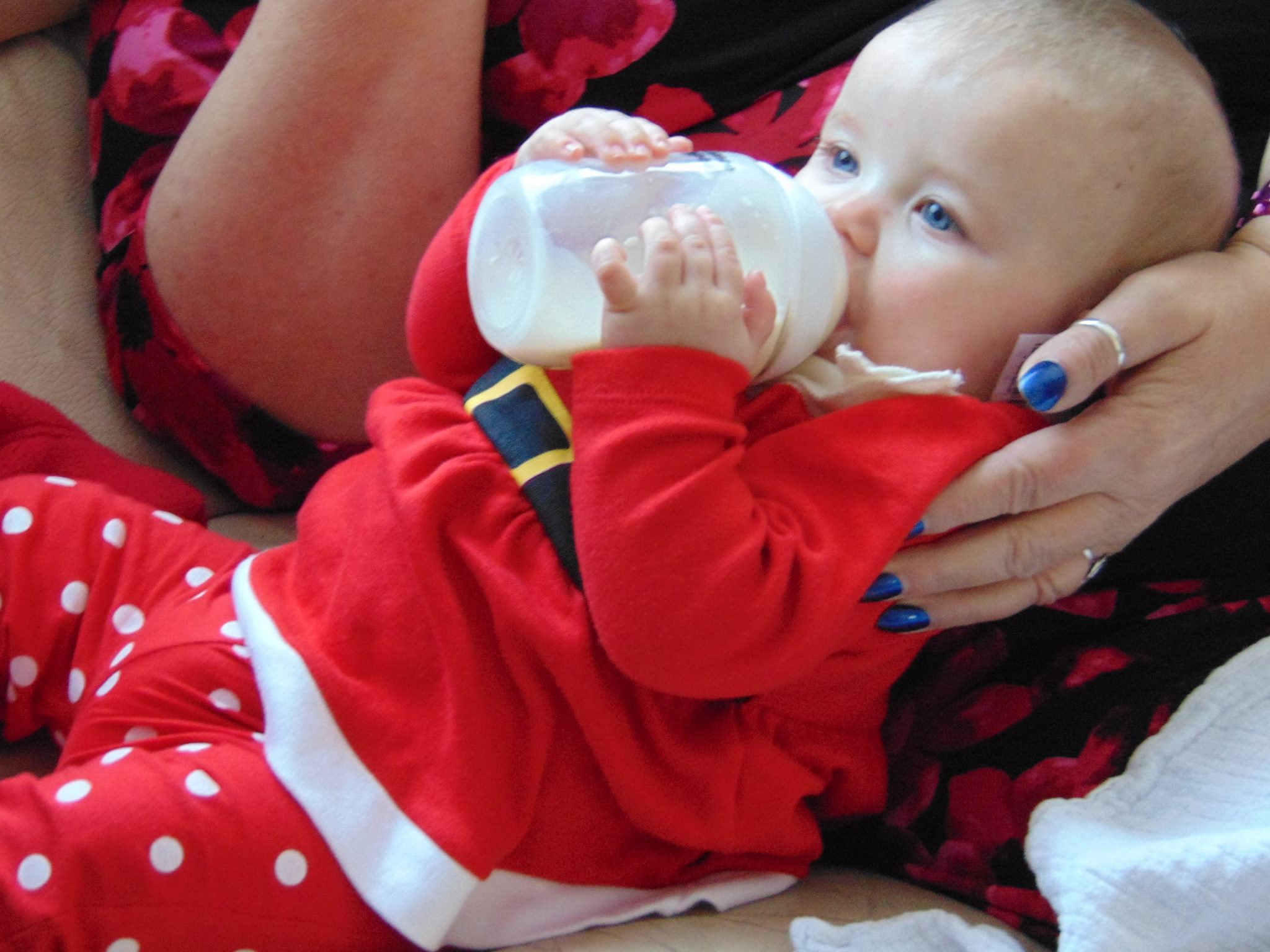 Little girl with bright blue eys drinking milk in a santa outfit.