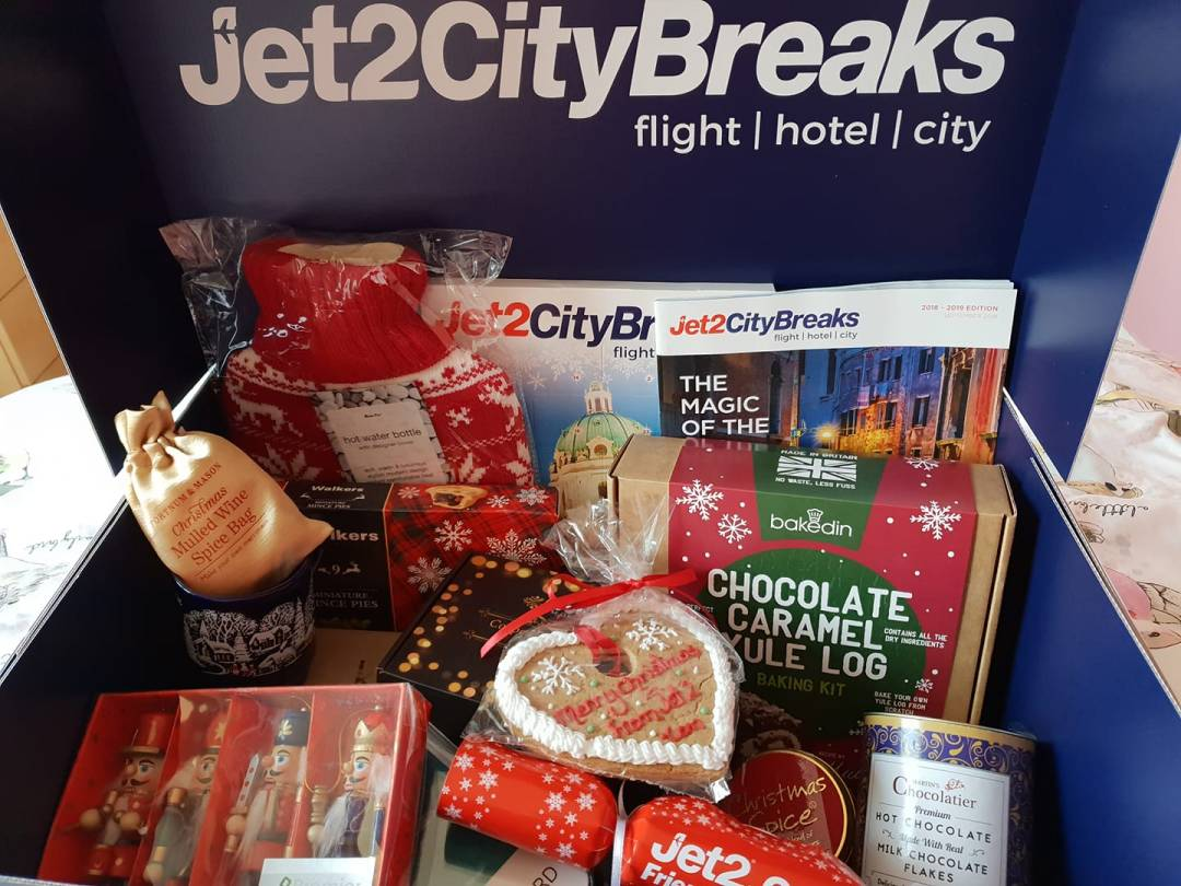 Hamper from jet 2 with chocolates and crackers.
