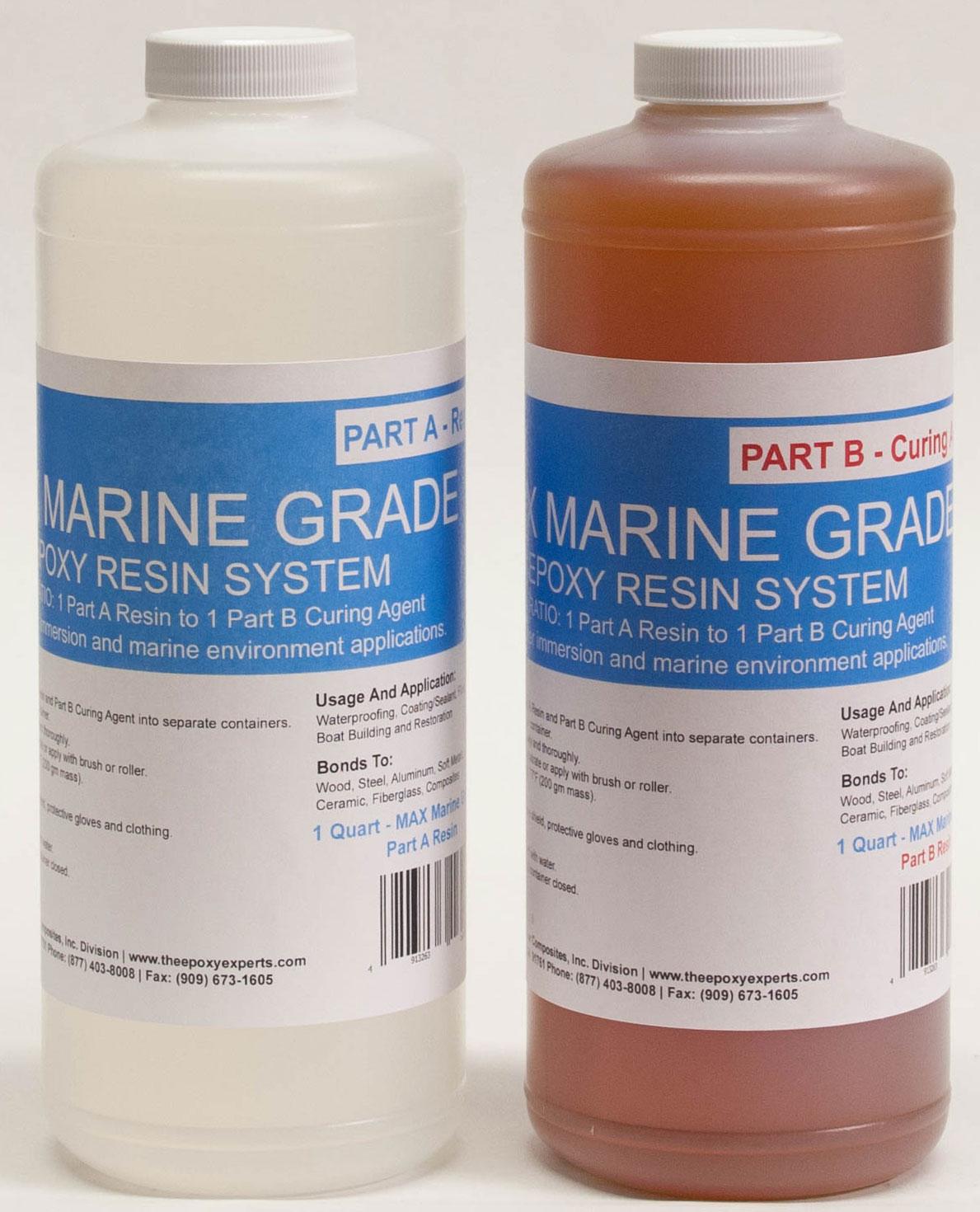 MAX MARINE GRADE Epoxy Resin System - 1/2 Gallon Kit - Wood Sealing, High  Strength Fiberglassing Marine Applications, Composite Fabricating Resin -