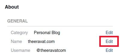 เปลี่ยนชื่อเพจ: 2. กดปุ่ม Edit ที่อยู่หลัง Name ในส่วน General