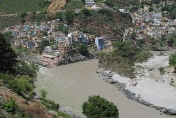 Alaknanda and Mandakini rivers confluence at Rudraprayag