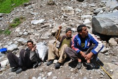 Local workers managing trek path to valley