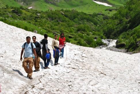 crossing the glacier enroute valley
