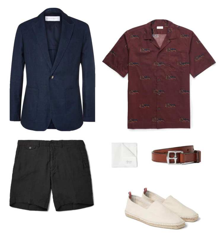 LINEN & WOOL BLAZER: PRIVATE WHITE V.C., $730 | Camp-Collar Lobster-Print Cotton Shirt: DRIES VAN NOTEN, $365 | LINEN SHORTS: POLO RALPH LAUREN, $100 | WHITE SILK POCKET SQUARE: CHARVET, $80 | THIN BROWN LEATHER BELT: YUKETEN, $100 | Pablo Canvas Espadrilles: Castañer, $105