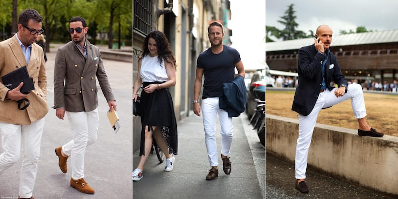 White pants can be intimidating, but looks great when done right. LEFT TO RIGHT: PICS VIA TOMMY TON, GQ, SARTORIALIST