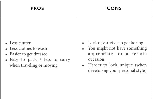 minimal wardrobe pros and cons
