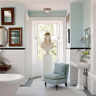 mirror blue bath