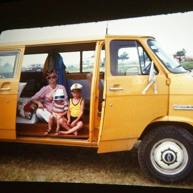 My mom and her boys, van camping in the seventies