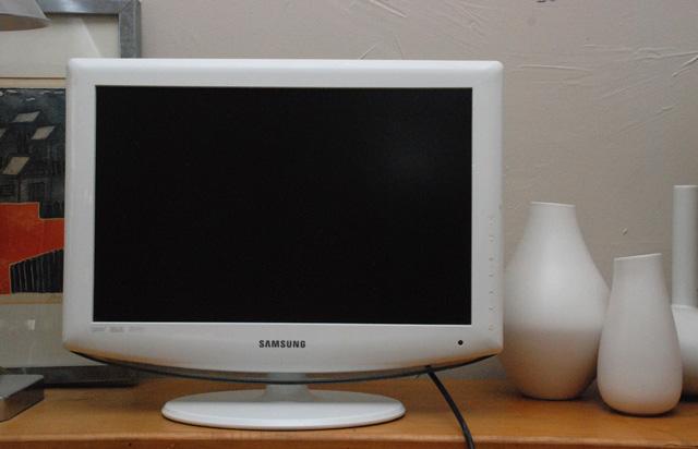 white samsung TV