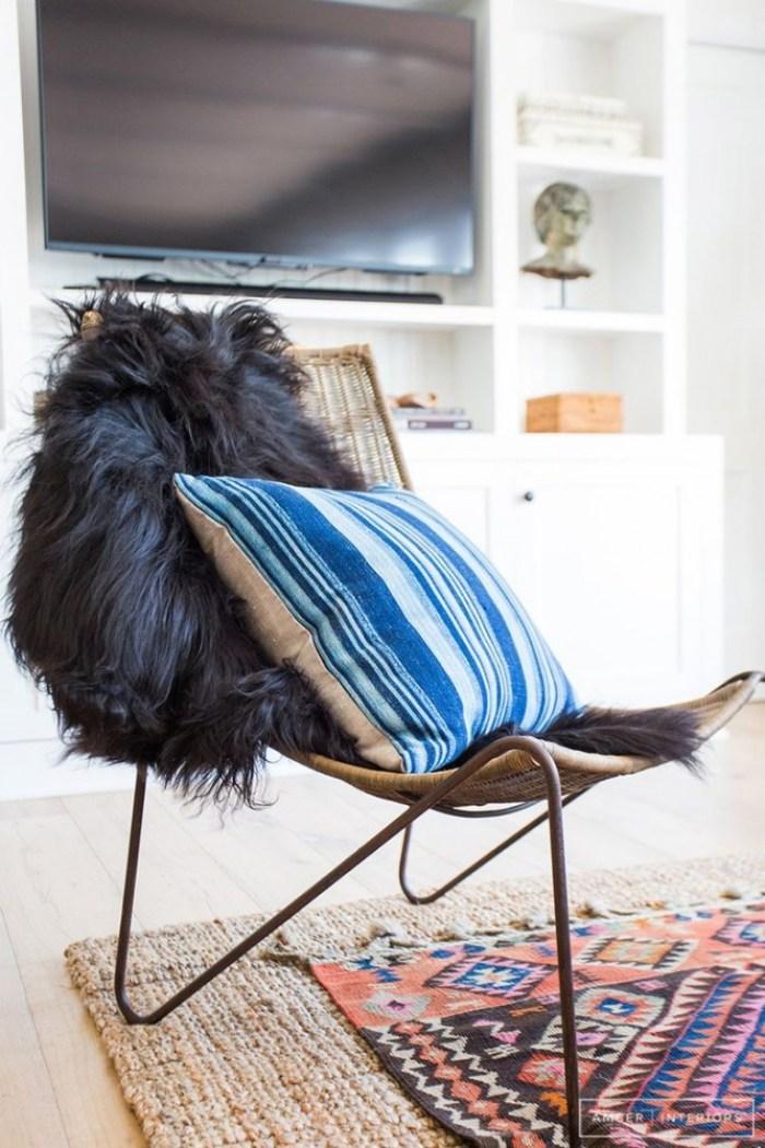 amber interiors blue stripe pillow