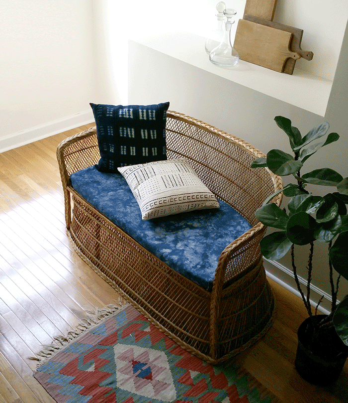 vintage african mudcloth pillow styled by the estate of things