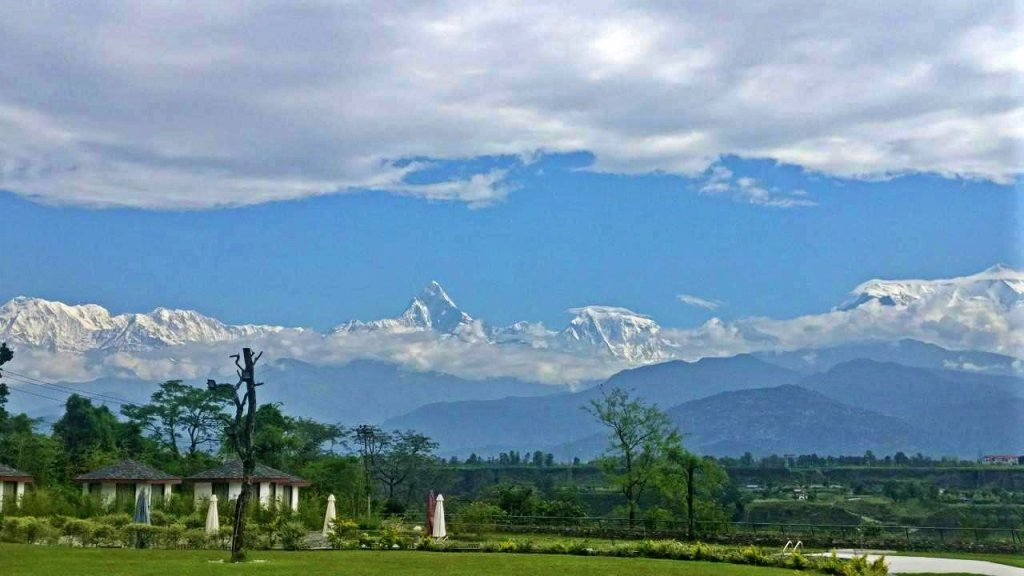 The Annapurna Ranges seen from Mountain Glory Resort and Spa