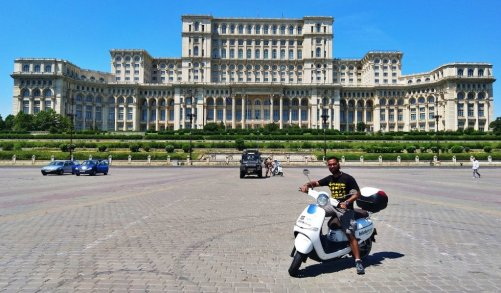 In front of the Palace of Parliament on my ride by Blinkee