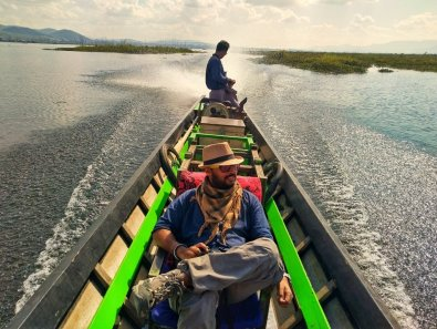 Cruising through Inle Lake in our Private Boat