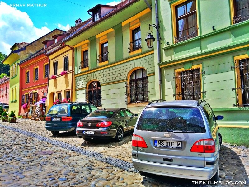 The pastel coloured houses in Sighisoara