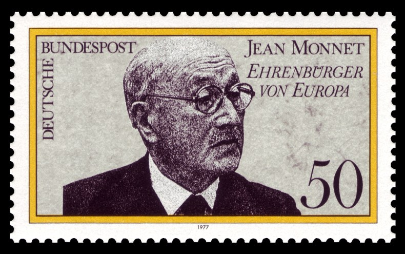 A German stamp from 1977 featuring Jean Monnet, considered one of the Fathers of Europe.