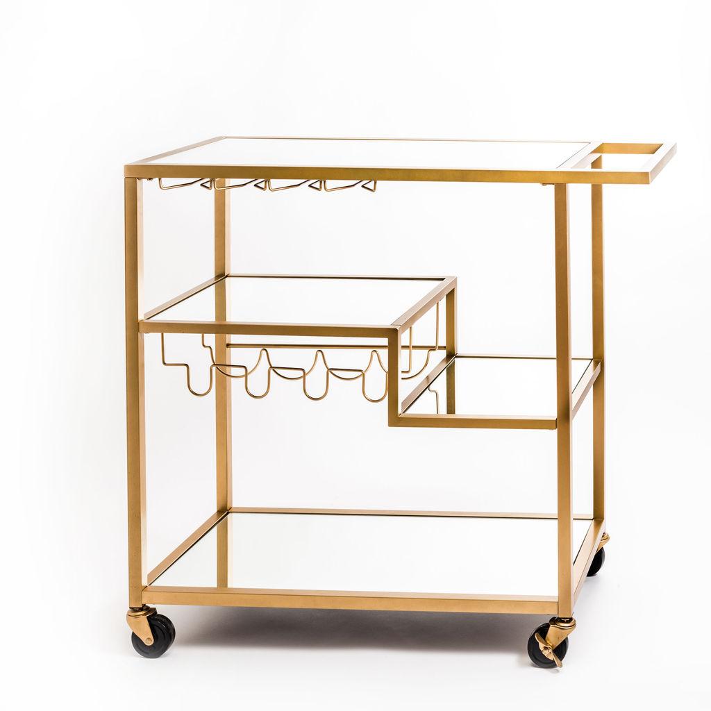 gold bar cart with glass rack
