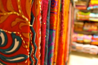 India is famous for all the beautiful fabric it produces. You can go into any department store or taylor and you will see entire rows of beautiful fabric!