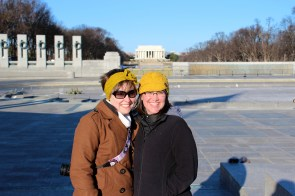 Emily and Agnes with the Lincoln Memorial in the background.