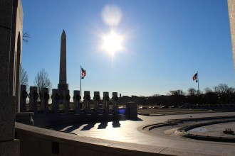 Next we went to the WW2 Memorial. Here it is with the Washington Monument in the background.