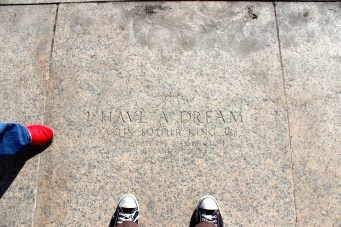 On the outside of the memorial, there's a stone specially marked where MLK stood when he gave the Dream Speech.