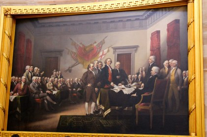 The famous signing of the Declaration that we've all seen in our history books.