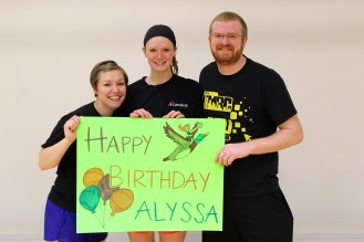 Matt's sister is on their team and it was her birthday!