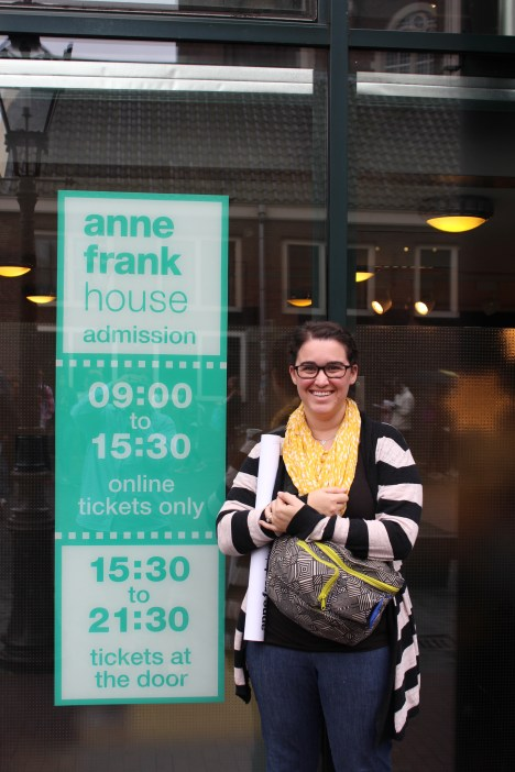 Outside the Anne Frank House. It was a dream of mine to visit and was well worth the long wait in line. In light of the current refugee crisis, it was incredibly moving!