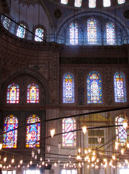 Illuminated Interior of the Blue Mosque