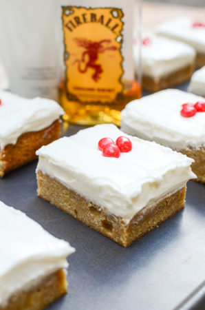 RumChata Blondies with Fireball Cream Cheese Frosting are the perfect summer party dessert. I've made them five times in five weeks and my friends keep asking for more! | theeverykitchen.com