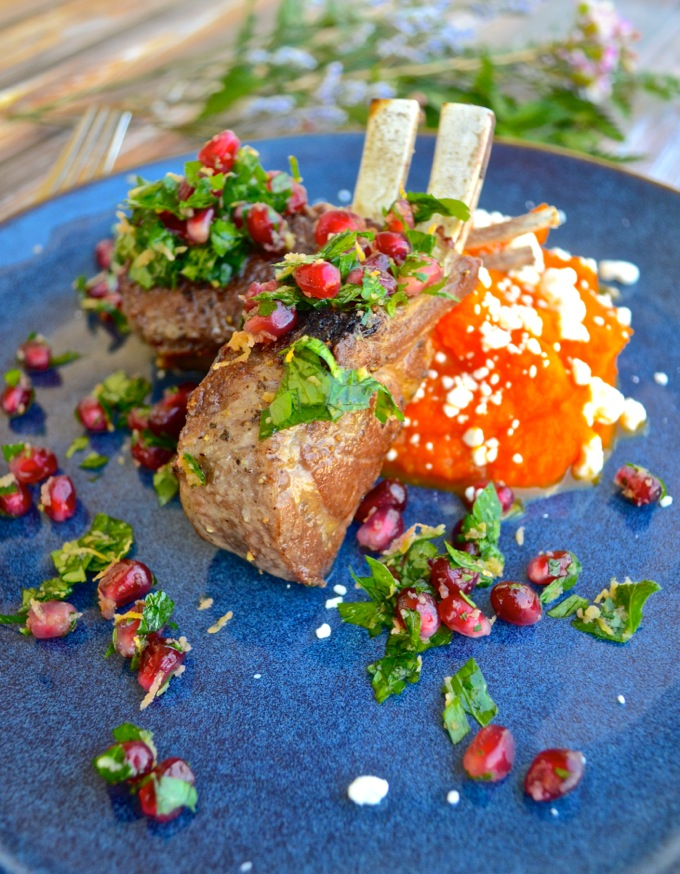 Lamb Chops with Pomegranate Gremolata and Carrot-Goat Cheese Mash | www.theeverykitchen.com