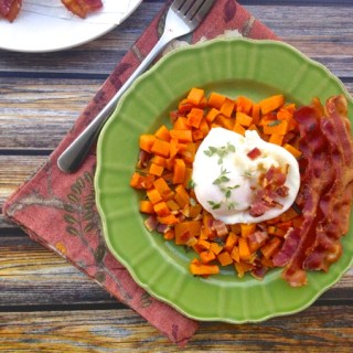 Poached Eggs with Bacon-Roasted Butternut Squash