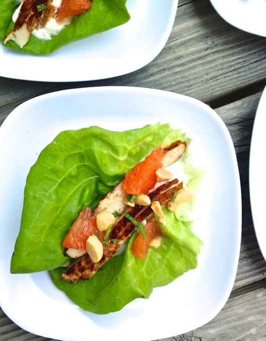 A healthy, summer lunch or dinner - Cajun Chicken + Grapefruit Lettuce Cups. Get the recipe at www.theeverykitchen.com