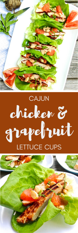 Cajun Chicken and Grapefruit Lettuce Cups are a healthy summer lunch or dinner. | theeverykitchen.com