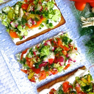 Looking for a healthy, easy, cool summer lunch? These taste great poolside OR in the comfort of your air conditioner. Get the recipe for Cool Summer Veggie Pizza at www.theeverykitchen.com