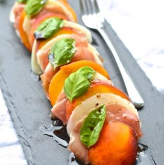 Peach and Prosciutto Caprese Salad