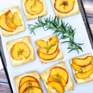 Peach, Rosemary, and Brie Tartlets - a little sweet + savory. | theeverykitchen.com